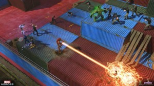 The Avengers battle on a cargo ship.