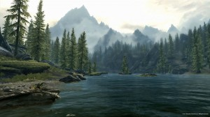 Skyrim lake mountains