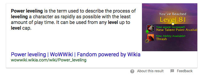 google's definition of powerleveling