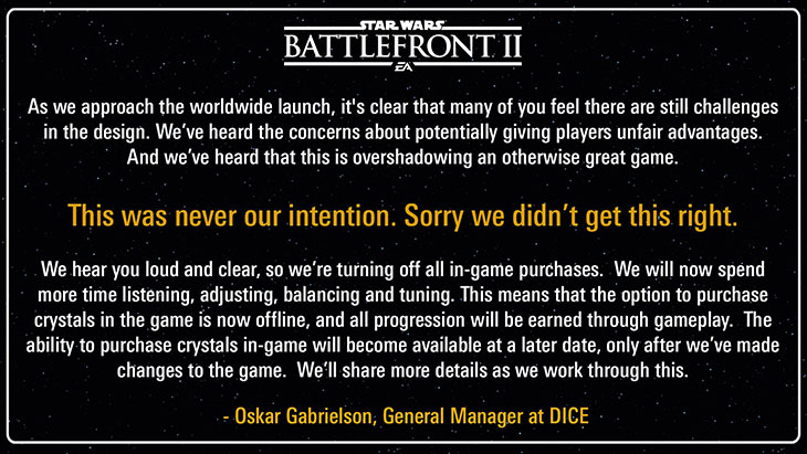 No more microtransactions in Battlefront 2