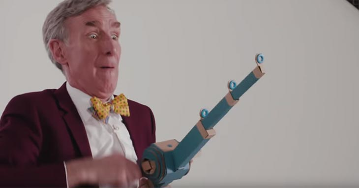 Bill Nye playing with Nintendo Labo fishing pole