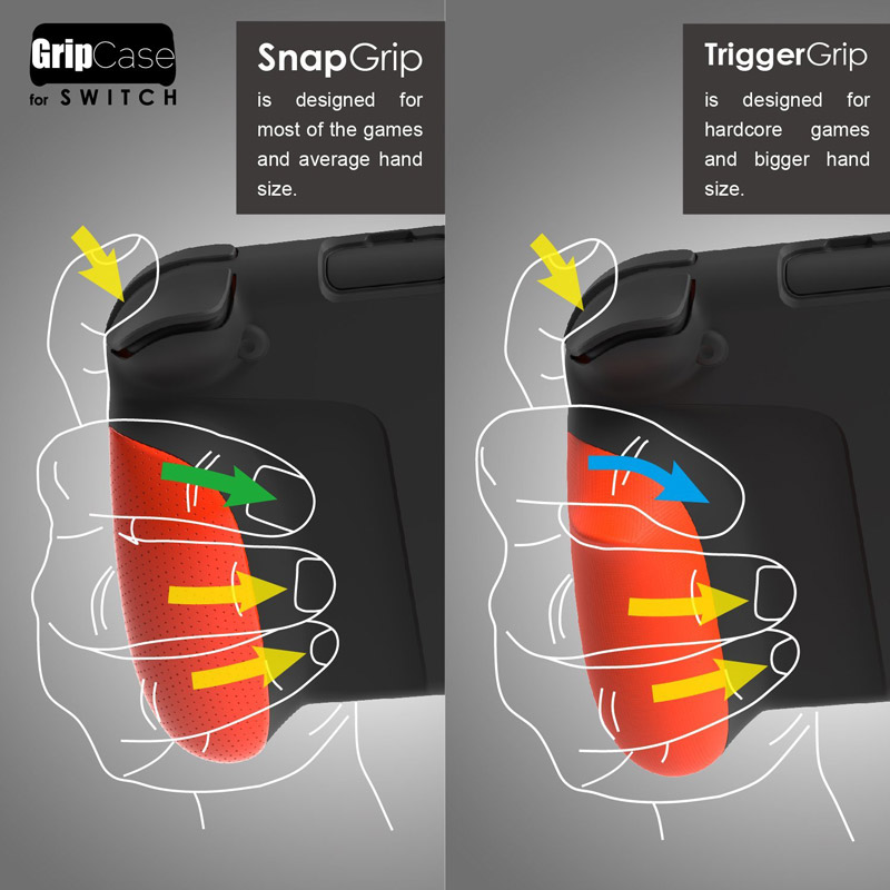 SnapGrip and TriggerGrip for GripCase Nintendo Switch