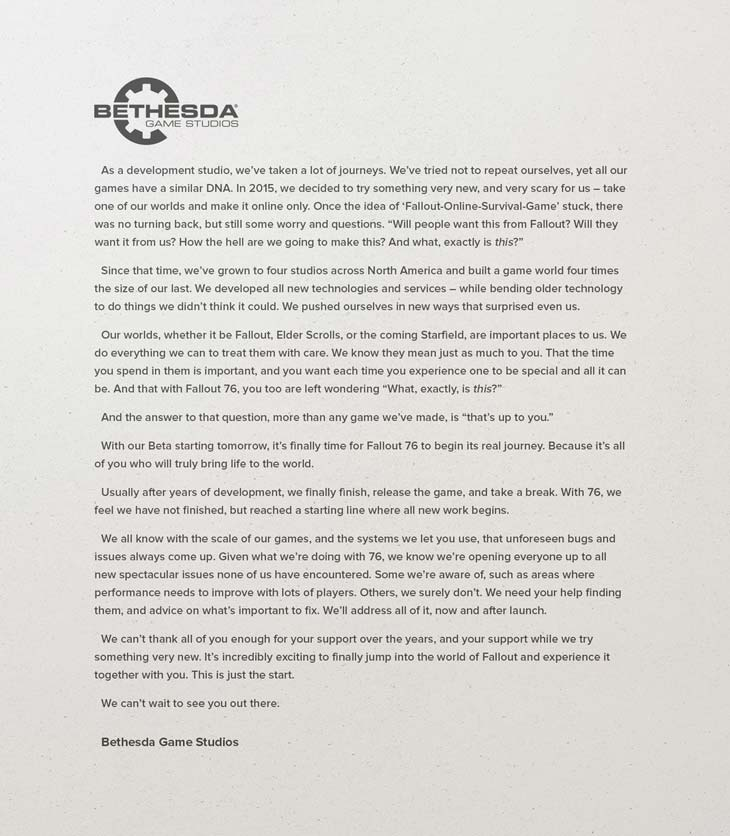 Bethesda's fallout 76 letter